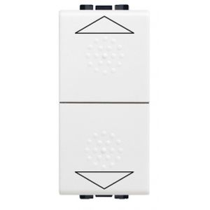 Double poussoir Living Light Bticino Blanc 10A - 250V interrupteur bloqué - 1 module