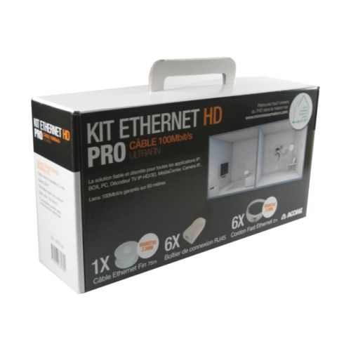Kit Ethernet HD PRO cable ultrafin 100Mb ACOHOME pour Box PC TV