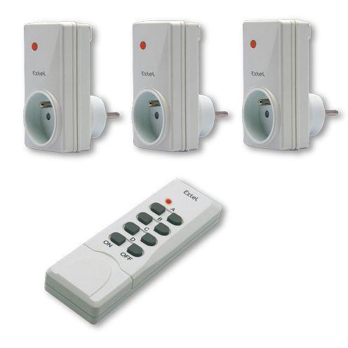 extel 763015 kit 3 prises marche arr t avec t l commande 4 touches do 3115 2. Black Bedroom Furniture Sets. Home Design Ideas