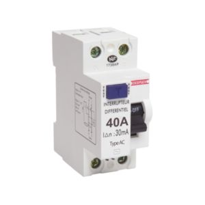 Interrupteur differentiel 2p 30ma 40a 2 modules type ac blanc
