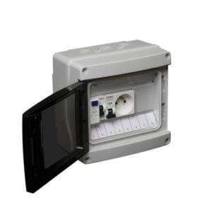 Coffret étanche Debflex Pour Abri De Jardin 1 Interrupteur Diff 40a Ac + 1  Disjoncteur Zoom