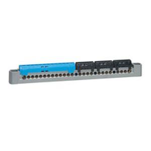 Bornier de répartition IP 2X - terre - 3P+N - 1 connex 4à25mm² - vert - L 227 mm