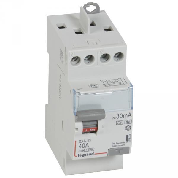 interrupteur diff rentiel dx id vis vis 2p 230v 40a type hpi 30ma d part haut. Black Bedroom Furniture Sets. Home Design Ideas