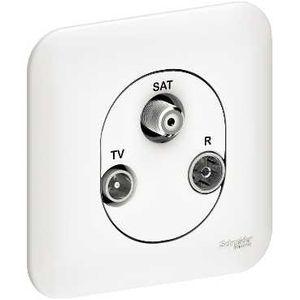 Schneider ovalis prise tv r sat 2 entr es tv r et satellite avec plaque schneider electric - Prise tv sat ...