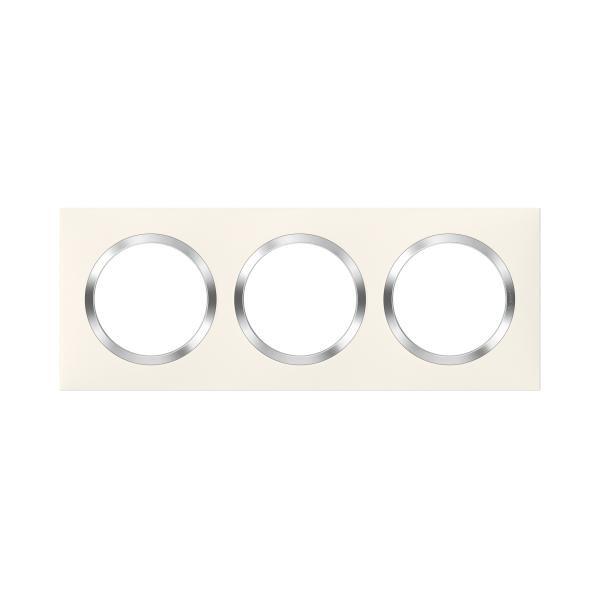 Plaque Legrand Dooxie carrée 3 postes finition blanc avec bague effet chrome